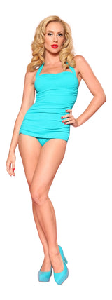 Esther Williams Classic Sheath Solid Color Swim Suit - Teal