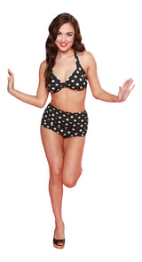 Esther Williams Classic Polka Dot Bathing Suit Top - Navy & Yellow