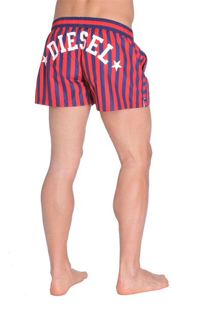 Diesel Coralrif Striped Swim Shorts - Red