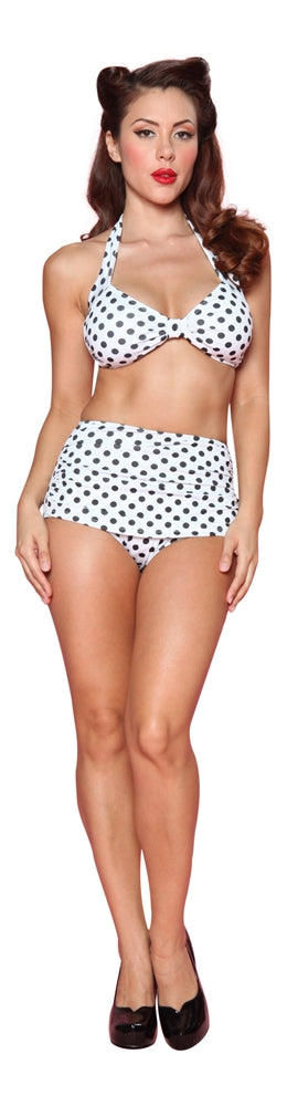 Esther Williams Classic Polka Dot Bathing Suit Top - White & Black