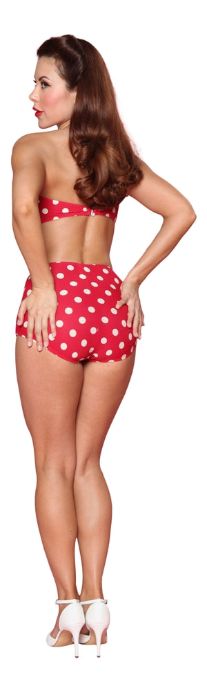 Esther Williams Classic Polka Dot Bathing Suit Top - Red White