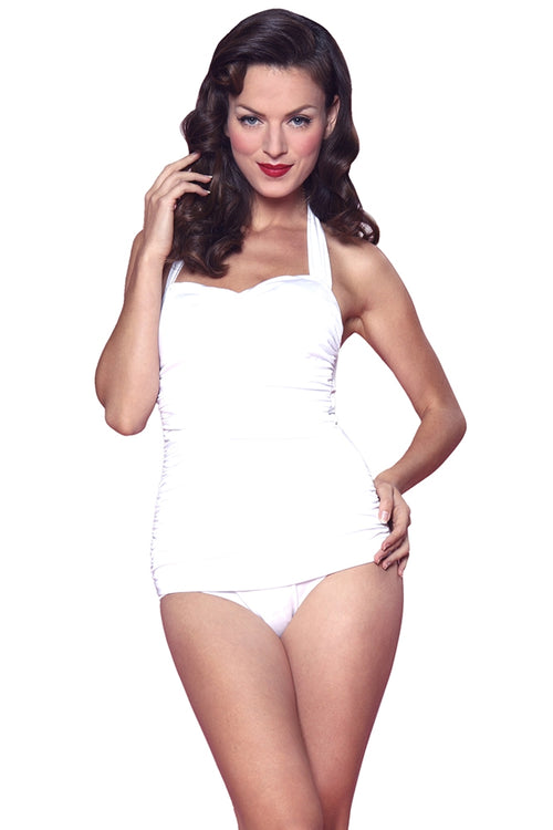 Esther Williams Classic Sheath Solid Color Swim Suit - White