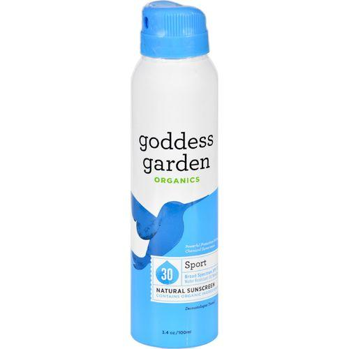 Goddess Garden Sunscreen - Natural - Sport - SPF 30 - Continuous Spray - 3.4 oz