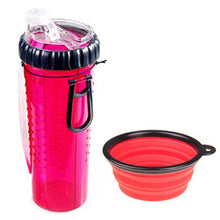 Silicone Travel Water Bottle with Foldable Bowl