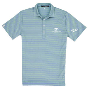 Golden Isles Co-Logo Airflow Polo Celadon Stripe