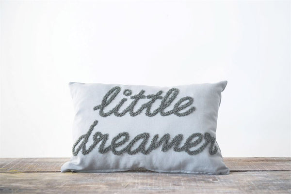 "Cotton Embroidered Pillow ""Little Dreamer"", Grey - The Rollie Pollie"