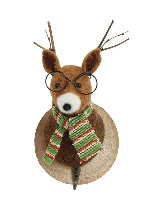 Wool Felt Deer Head Wall Decor on Wood Base with Hook - The Rollie Pollie