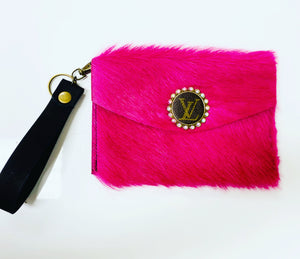 Upcycled Designer Hott Princess Pink Leather Wristlet
