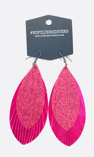 Metallic Fuchsia Feathered Earrings