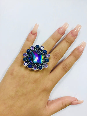 Exotic Dichroic Adjustable Sterling Ring