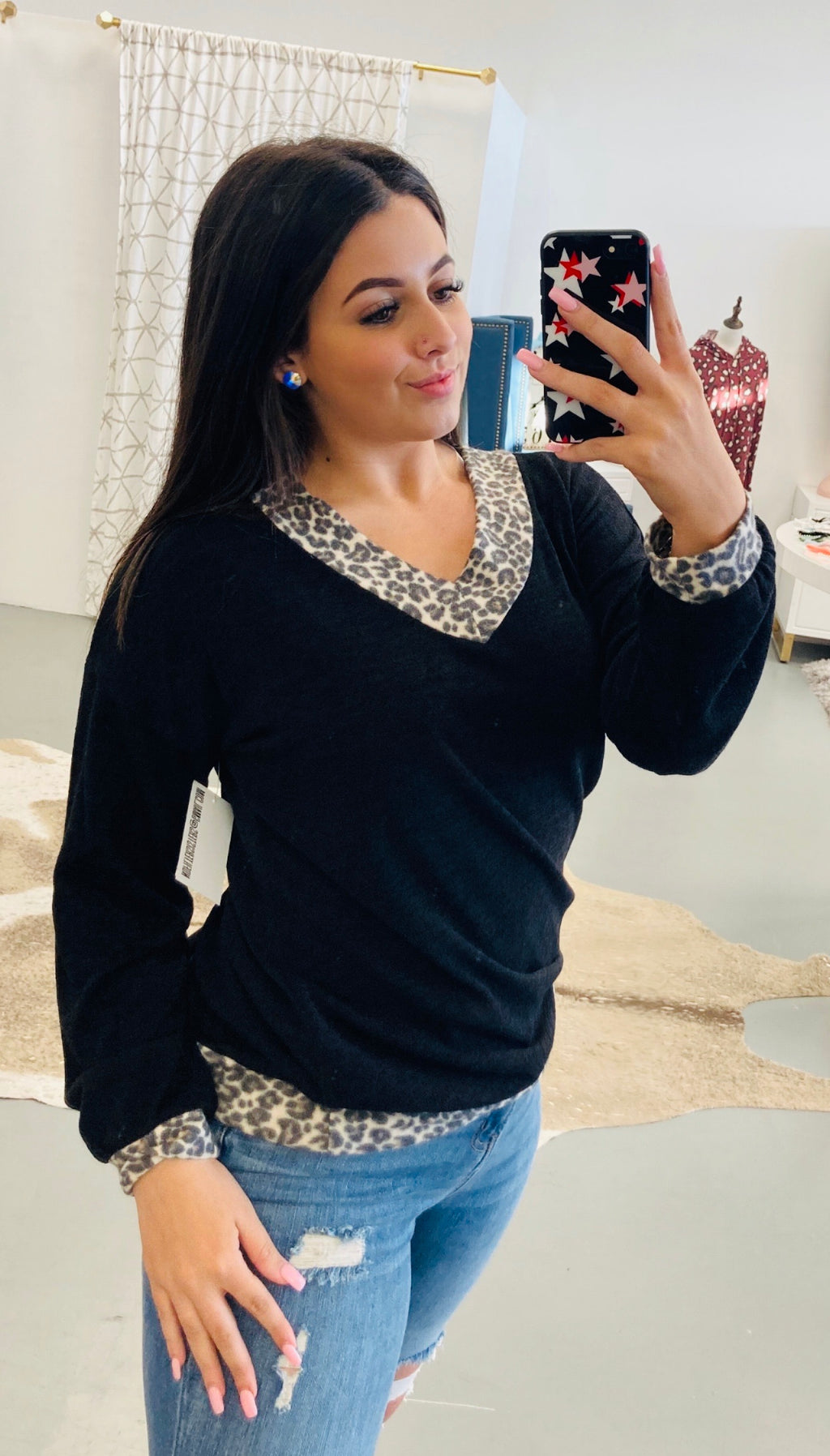 Hint Of Leopard Knit Top