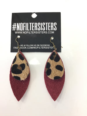 2 Layer Burgundy Suede washed gold Leopard Earrings