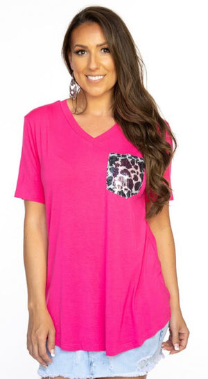 Cowhide Sequin Pocket Pink V Neck Top