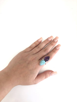 Larimar and Amethyst Sterling Ring Size 10
