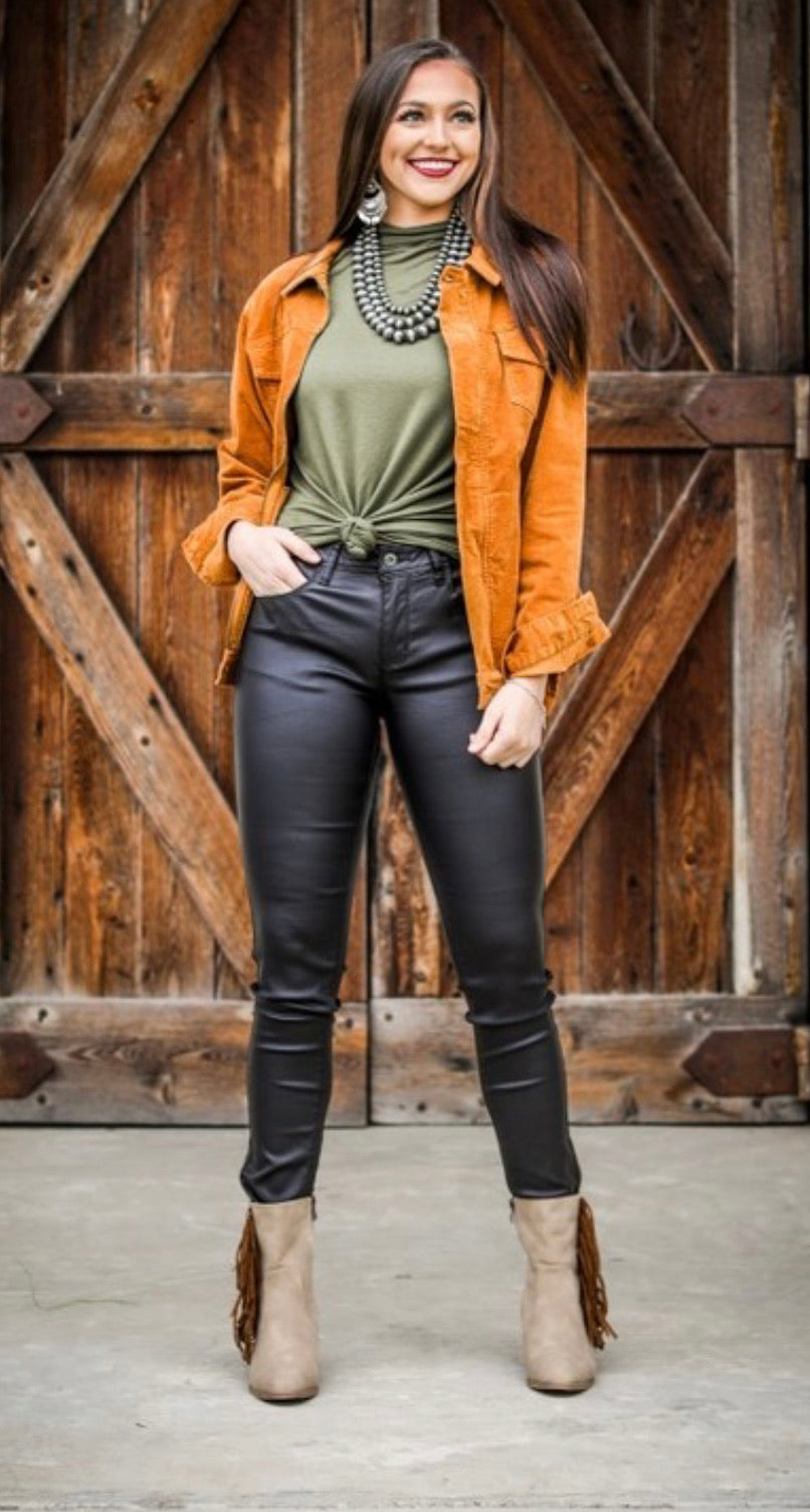 Black leather skinny jeans