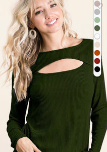 Essential Long Sleeve Keyhole-Olive