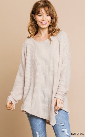 Umgee Cream Dream Waffle Knit Long Sleeve
