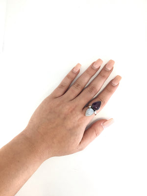 Sterling Silver Fairytale Amethyst Moonstone Ring-Size 8 1/2