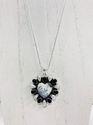 Dendrite & Black Onyx Heart Sterling Necklace