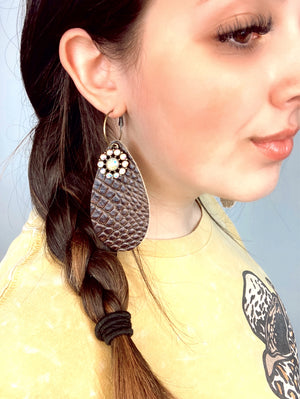 Croc It Leather Bling Earrings