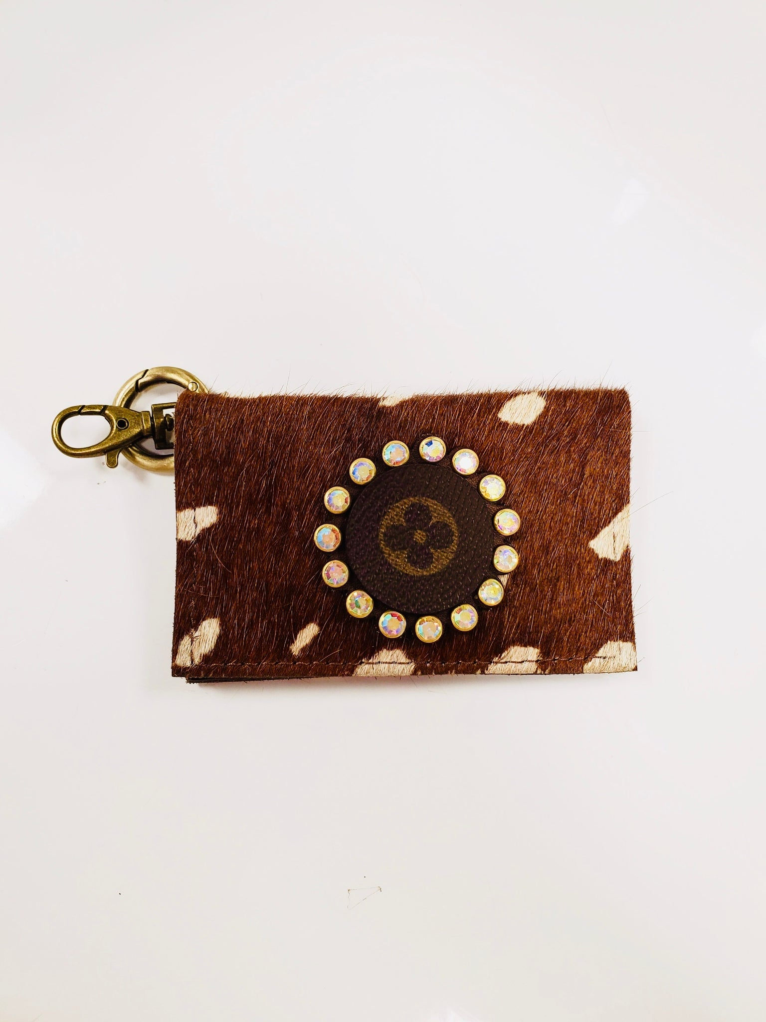 Fawn Print Hair On Hide Genuine Leather Upcycled Designer Key Chain Wallet