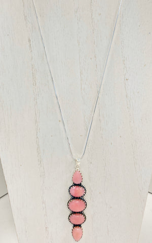 Rosy Pink Jade Sterling Silver Necklace