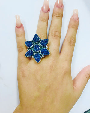Cobalt Druzy Flower Sterling Ring-Adjustable One Size