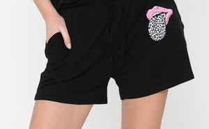 Lip Black Shorts