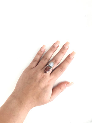 Sterling Silver Fairytale Cinnamon Jade/Moonstone Ring-Size 7