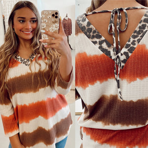 Dessert Striped Tie-Back Top