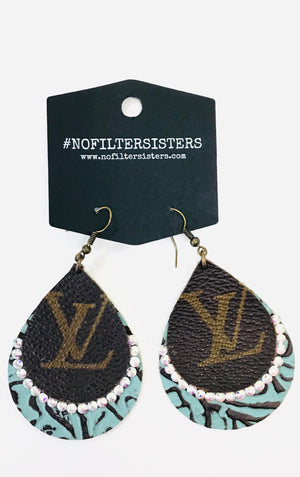 LV Turquoise Embossed Leather Earrings