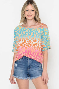 Off The Shoulder Ombré Leopard Top