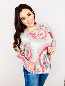 The Lace Up Tie-Dye Top