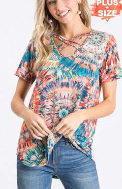 Electric Tie Dye Criss Cross Top