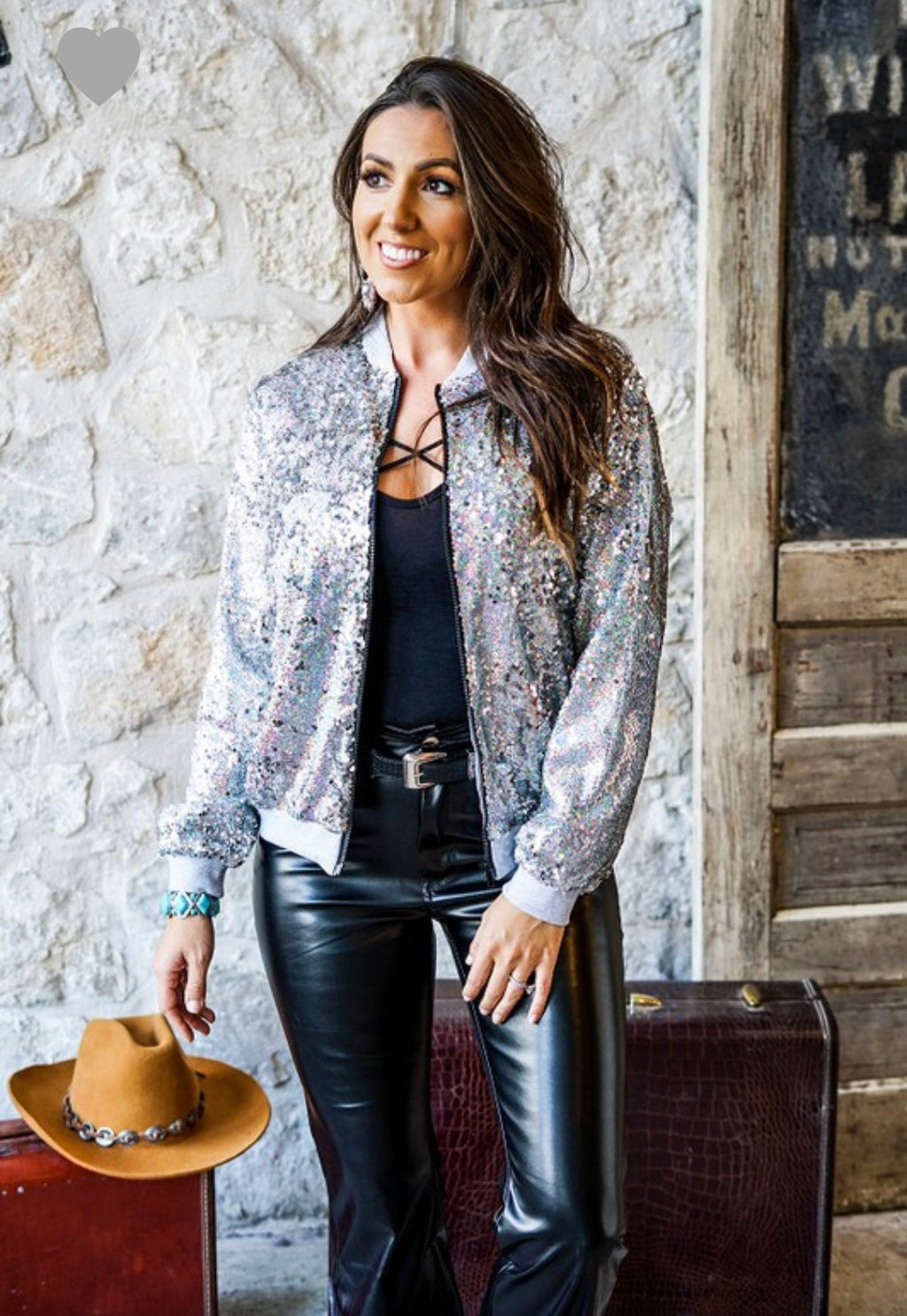 Express Yourself Sequin Bomber Jacket-2colors