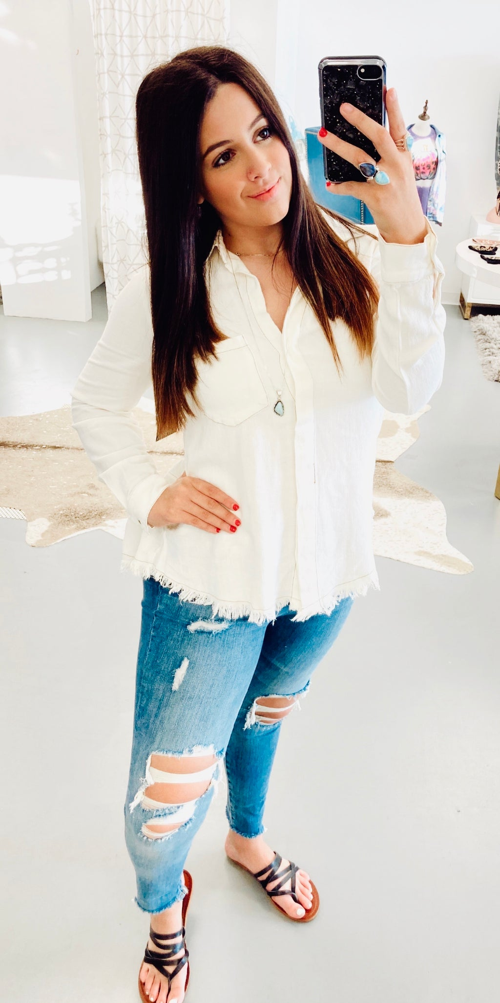 Falling In Love Ivory Umgee Blouse