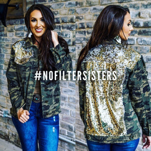 Camo Sequin Denim Jacket