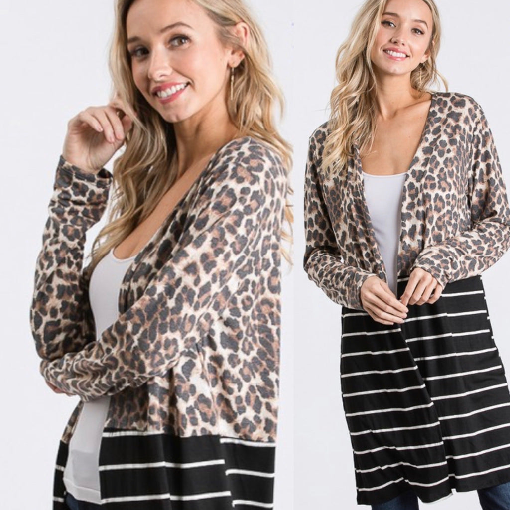 Leopard Striped Cardigan