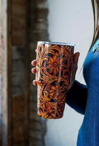Embossed Tooled Western Tumbler-30oz