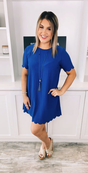 Blue Baby Scallop Dress