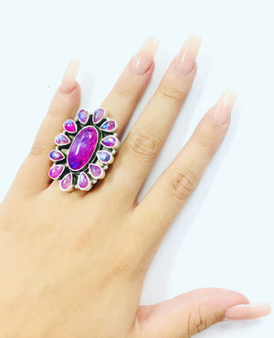 Pretty in Pink Flower Sterling Ring-Size 6