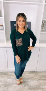 Emerald Leopard Pocket Long Sleeve