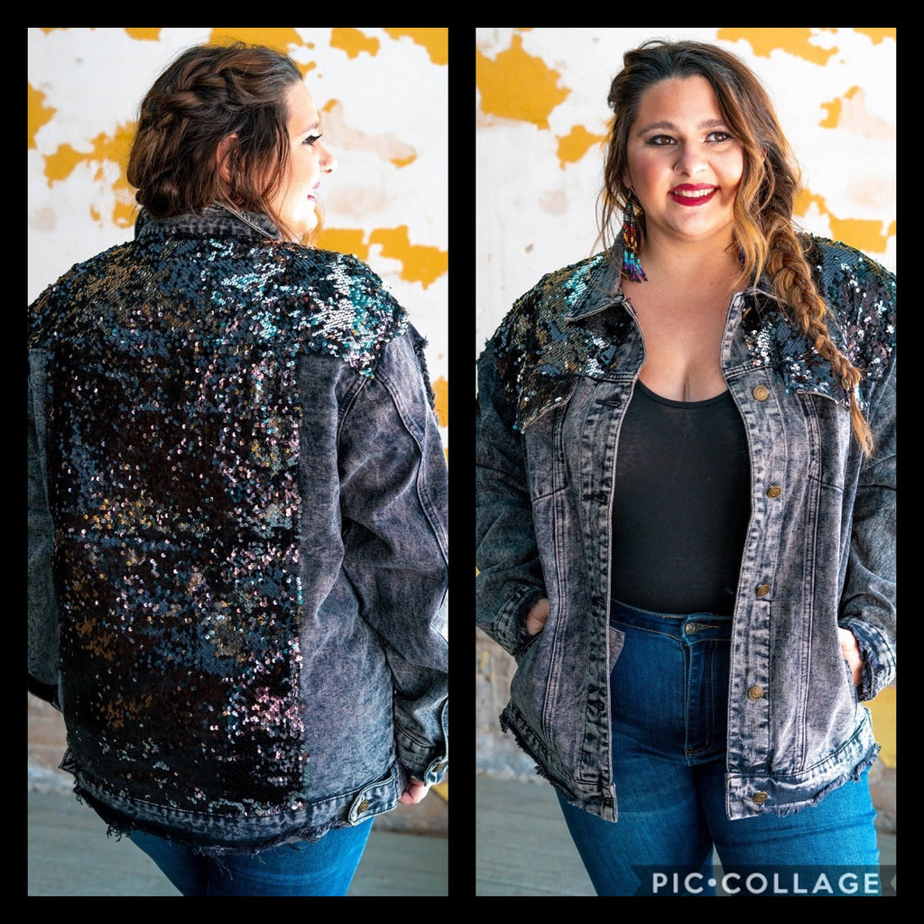 Black Galaxy Sequin Denim Jacket
