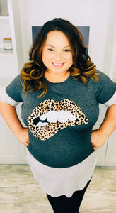 Charcoal Leopard Lips Top
