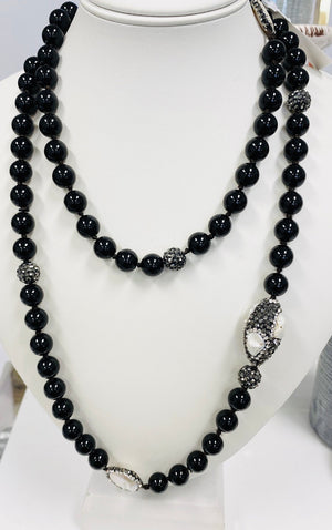 Black Onyx Freshwater Pearl Necklace-36 inches