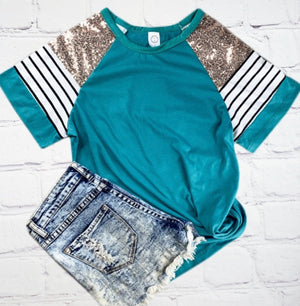 Miss Diva Teal Bling Top