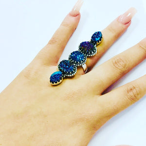 Midnight Galaxy Crawler Druzy Adjustable Ring-Sterling Silver
