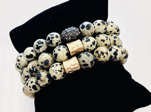Dalmatian Jasper Bracelet with Accent Bead