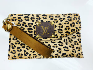 LV Leopard Leather Wristlet