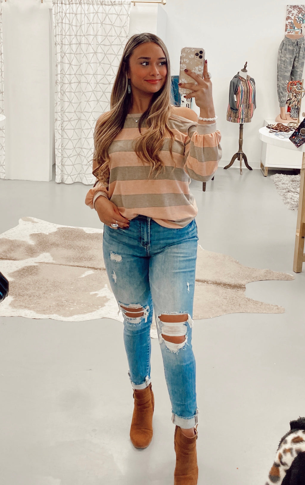 All In Stripes Cold Shoulder Top - Peach